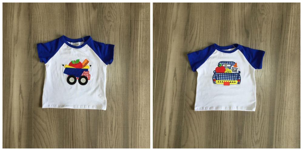 Verano bebé niños ropa de niños raglans boutique royal parte de arriba de color azul camisas ropa volver a la escuela algodón tartán camión lápiz
