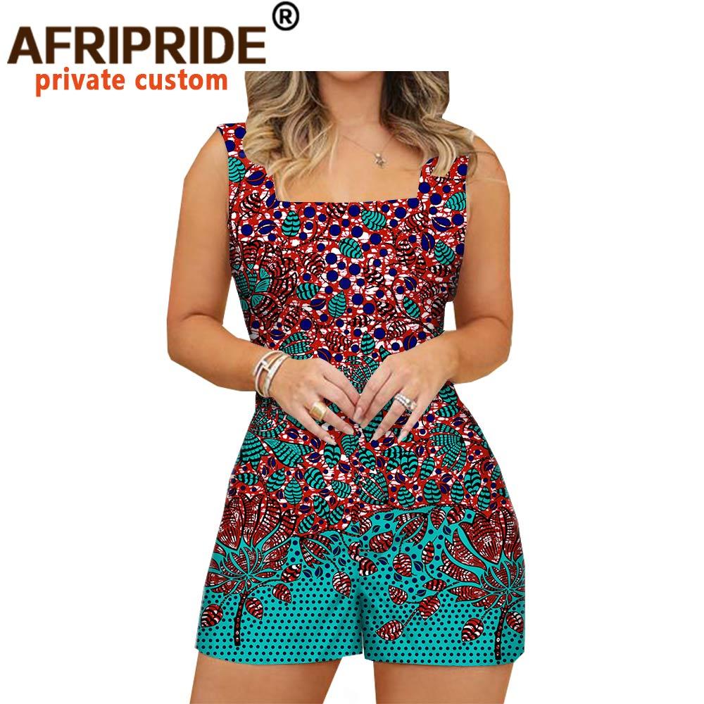 2020 africano moda playsuits para mulher afripride feito sob medida plus size prime sem mangas feminino casual algodão playsuits a1929003