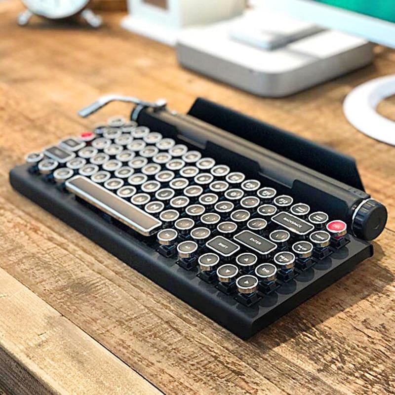 Клавиатура для пишущей машинки Беспроводная Bluetooth цветная подсветка ретро Механическая клавиатура для мобильного телефона планшета ноутб...