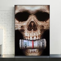 abstract bar skull head with money canvas posters and prints dollar art canvas paintings on the wall picture for home wall decor