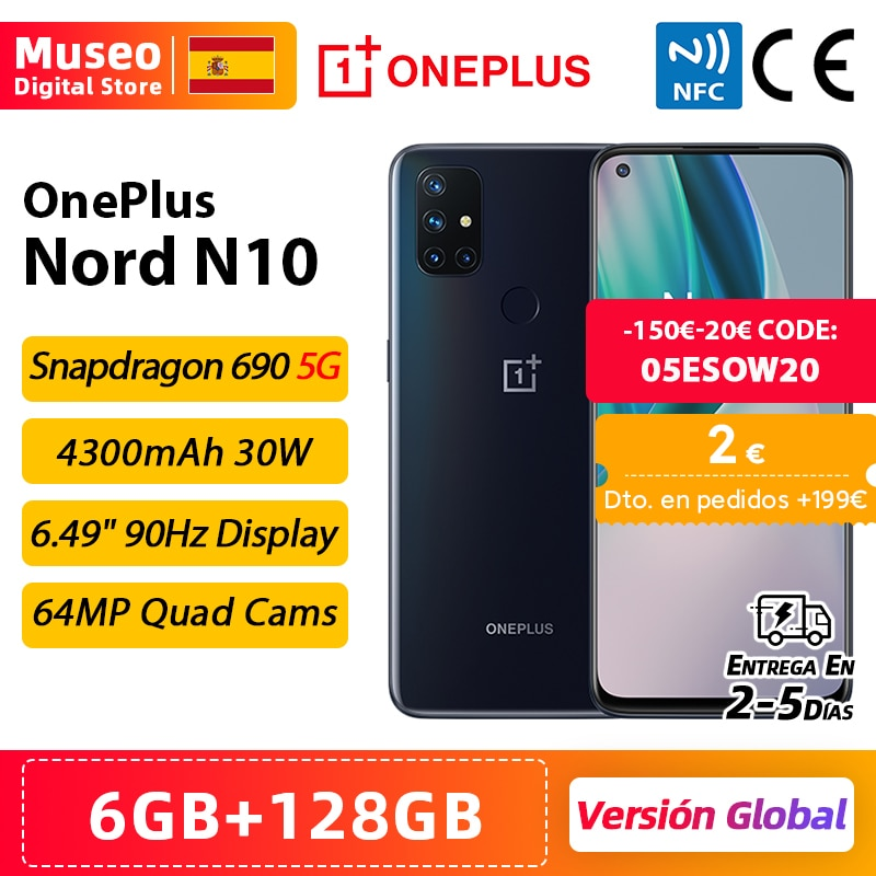 Global Version OnePlus Nord N10 5G Snapdragon Soc Cellphone 6GB 128GB 6.49'' 90Hz FHD+ Display Quad Camera Warp Charge 30T NFC