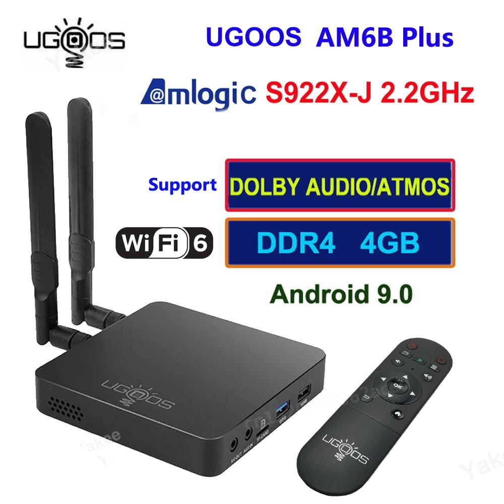 UGOOS AM6B Plus Amlogic S922X-J 2.2Ghz أندرويد 9 صندوق التلفزيون IR التعلم 4G32GB المزدوج واي فاي 1000M BT5 مشغل الوسائط دعم دولبي أتموس