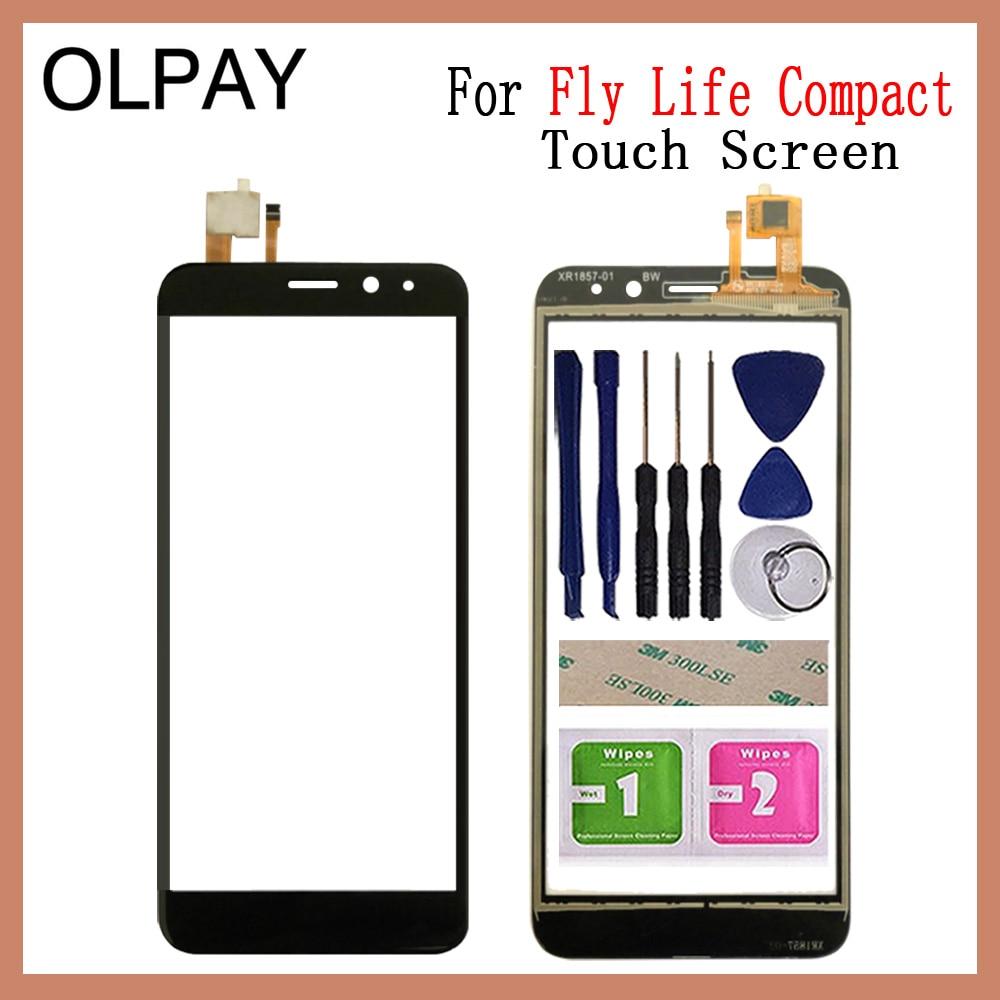 "OLPAY 4,95 ""Sensor de pantalla táctil móvil para Fly Life Compact Digitalizador de pantalla táctil Pantalla táctil frontal adhesivo gratis + toallitas"
