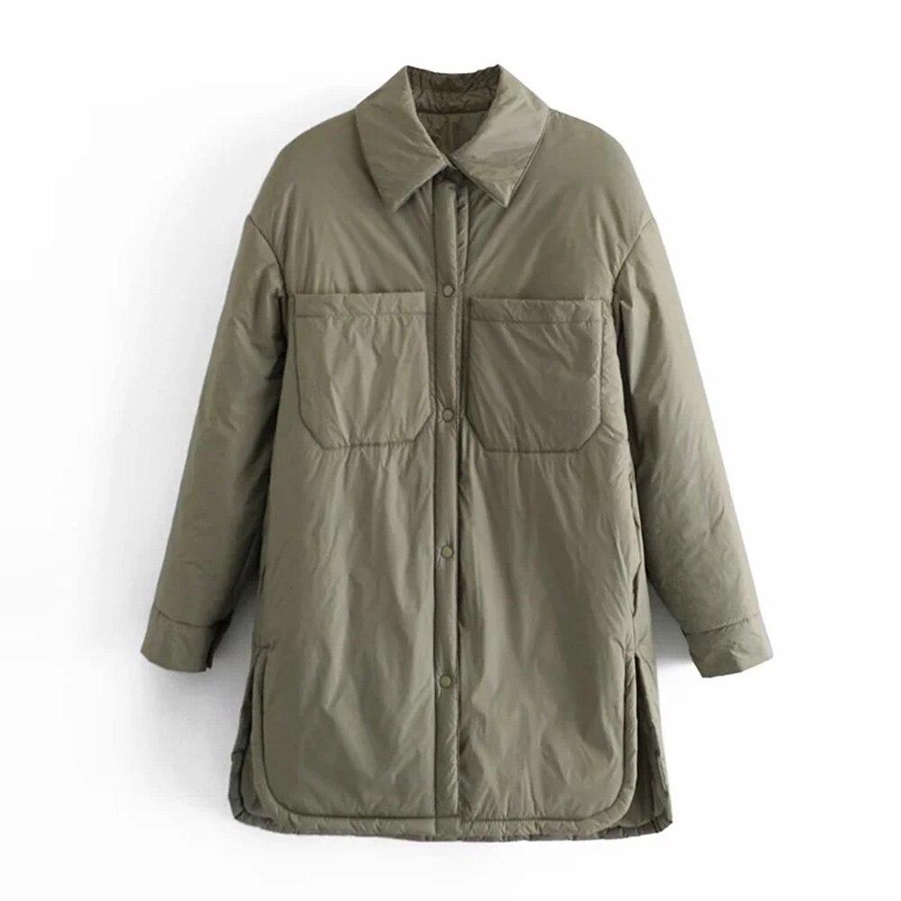 Vintage قميص فضفاض سترة النساء معطف الشتاء زر عادية جاكت بيسبول بأكمام طويلة وجيوب الكورية ZA معاطف وسترات