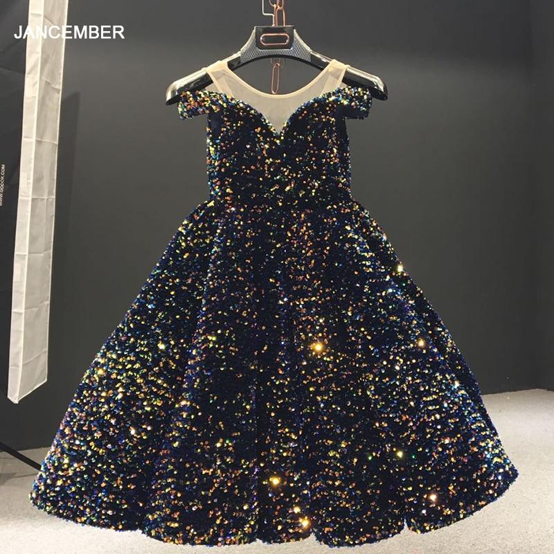 J66991-فستان سهرة للبنات ، بأكمام قصيرة ، أكتاف عارية ، خيط ، ترتر ، أزرق نيلي