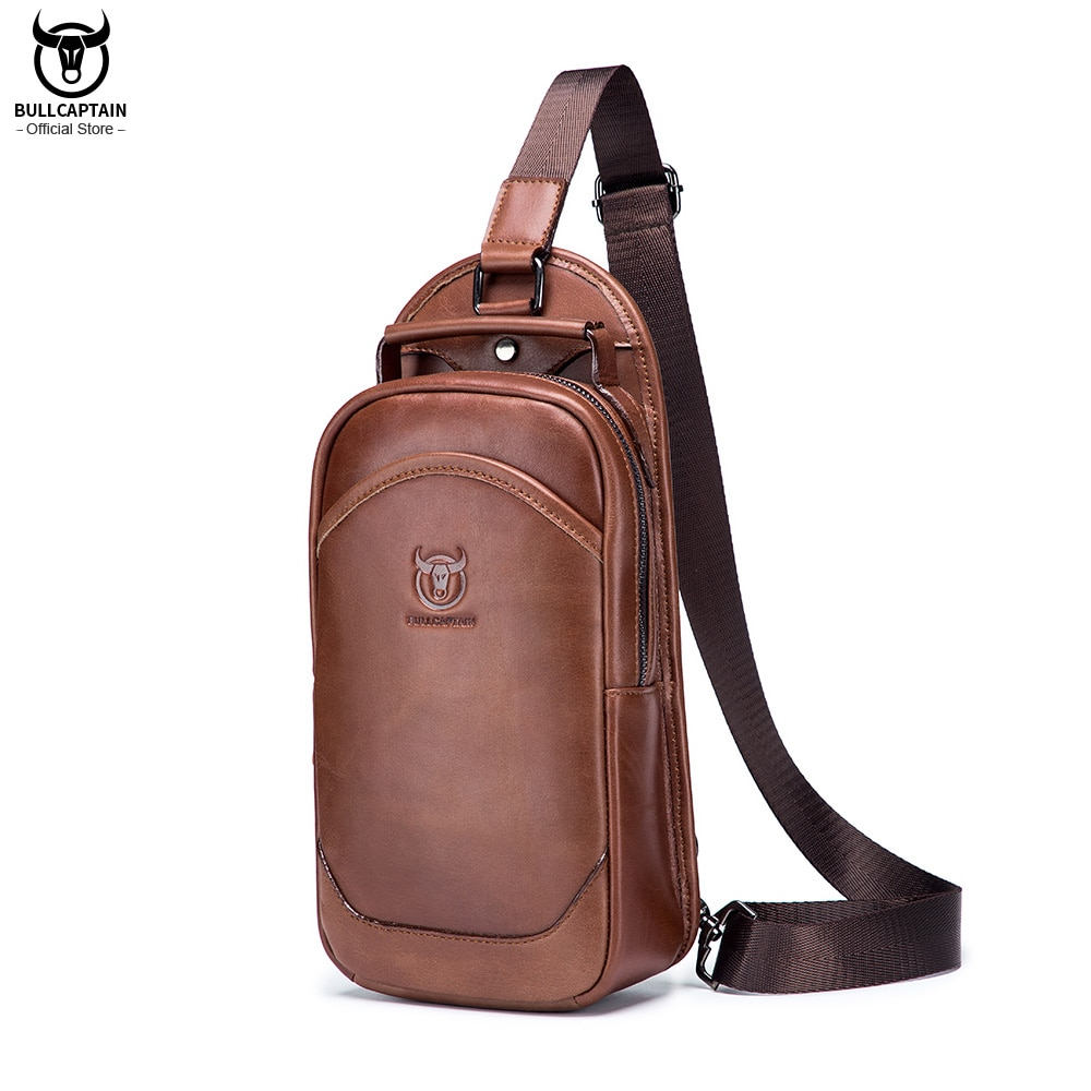 BULLCAPTAIN 100% Genuine Leather Messenger Shoulder Bag Men's Chest bag Multifunctional Casual Fashion Messenger Handbag 06