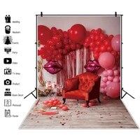laeacco birthday party decor poster red balloon love sofa interior baby photography background photo backdrop photo studio