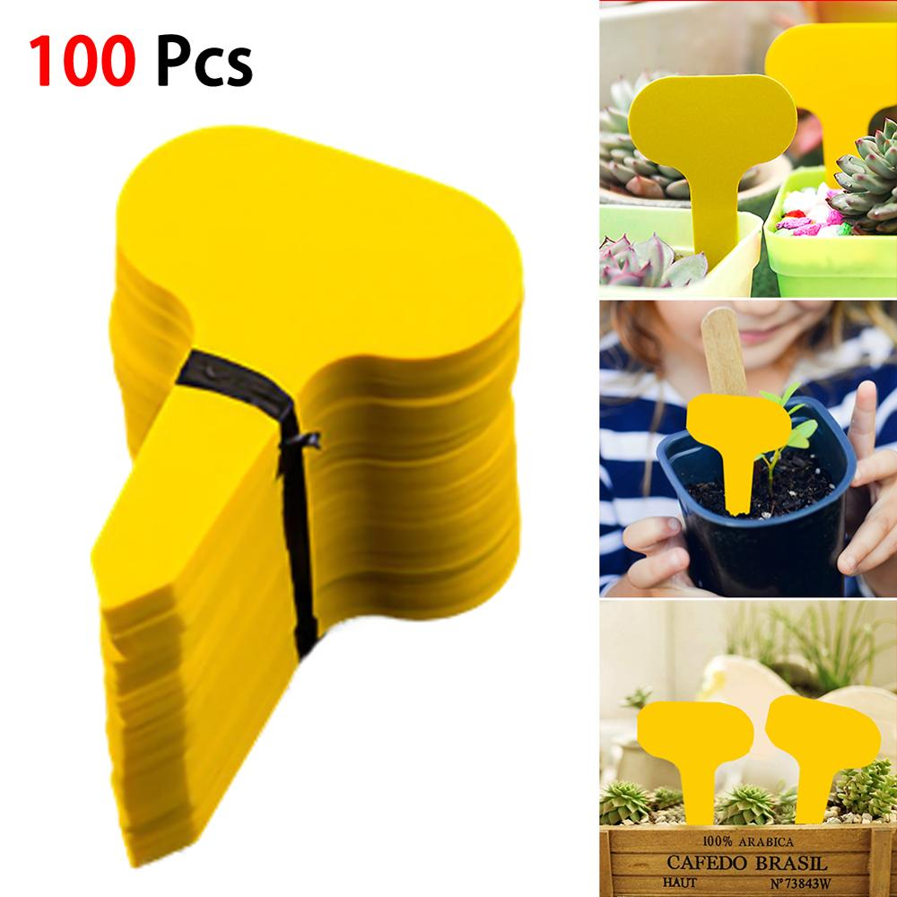 100PCS Gardening Label Waterproof T-shaped Ground Inserting Label PVC Plastic Label Plant Sign 100pcs lot plant label gardening label flower plastic ring label waterproof label plastic marker
