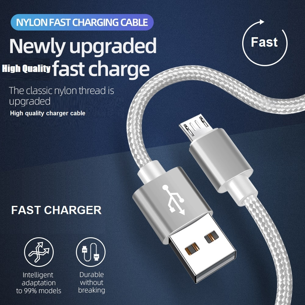 18W Fast Charger Cable Aluminum Alloy Type C Micro Nylon USB Charging Cord For Iphone Samsung Xiaomi