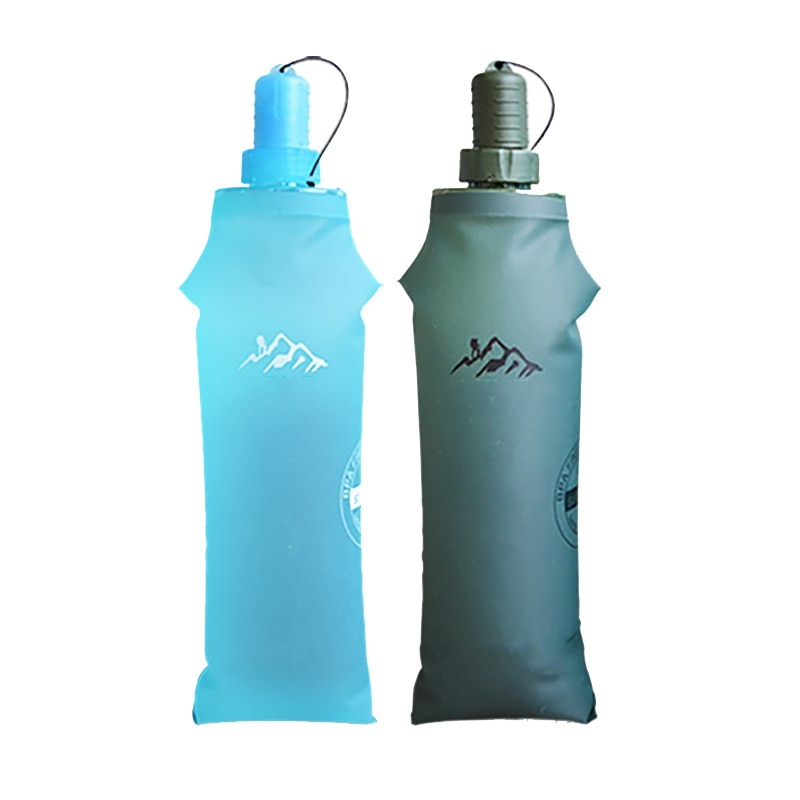 Bolsas de agua para deportes al aire libre 150/250/500 ML bolsa de agua plegable de TPU portátil para acampar al aire libre con tetera de paja botellas de viaje