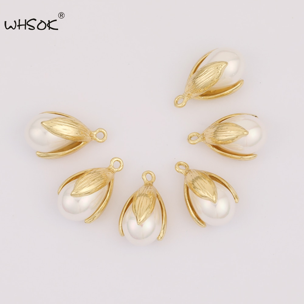 WHSOK 50Pcs 12*21MM Jewelry Accessories/Imitation Pearl/Flower With Pearl/Pendants/Tulip Shape/DIY/Hand Made/Earring Findings