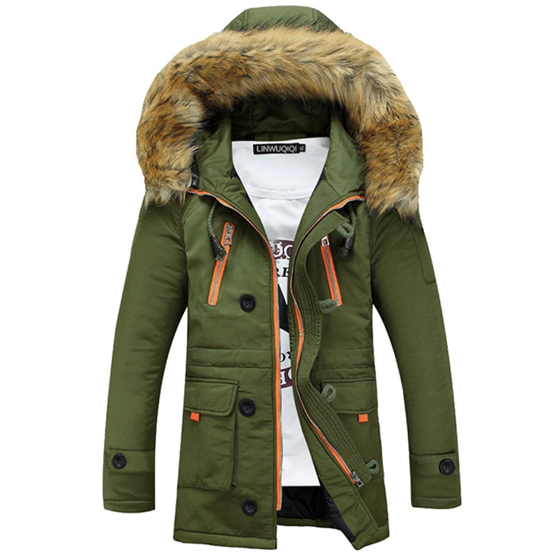 Зимняя мужская куртка, теплая кожаная куртка из хлопка, повседневная шерстяная мужская куртка средней длины с капюшоном из искусственного ...