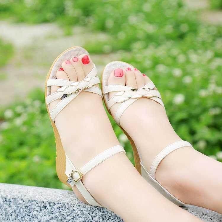 Femininas para Mulheres Sapatos para Mulher Sandálias Cunha Casual Fundo Macio Antiderrapante Boca Grávida Praia Sapatos Mulher 2021