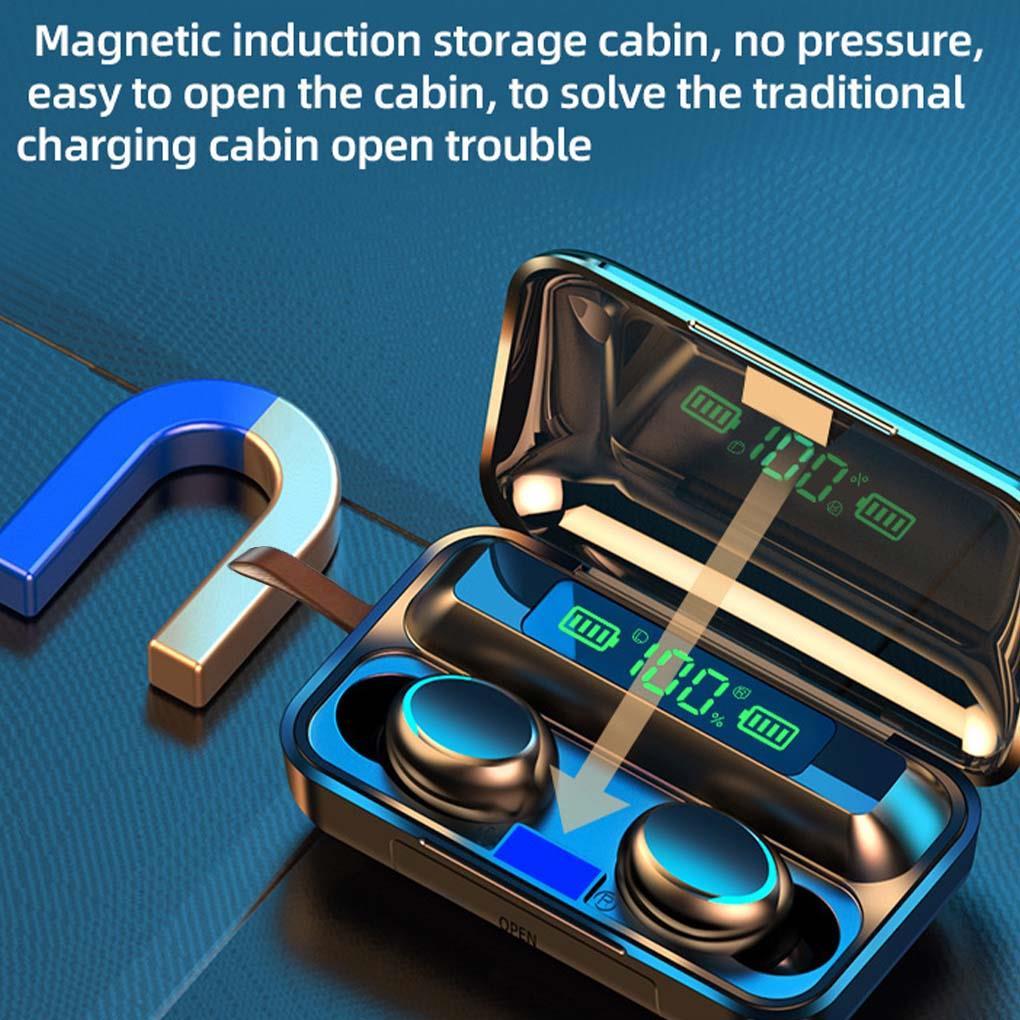 Get TWS Bluetooth 5.0 Earphones 1200mAh Charging Box Wireless Headphone F9 Stereo Sports Waterproof Earbuds Headsets With Microphone