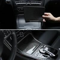 car carbon fiber water cup holder panel cover decorative trim for mercedes benz c class w205 c180 c200 c300 glc260