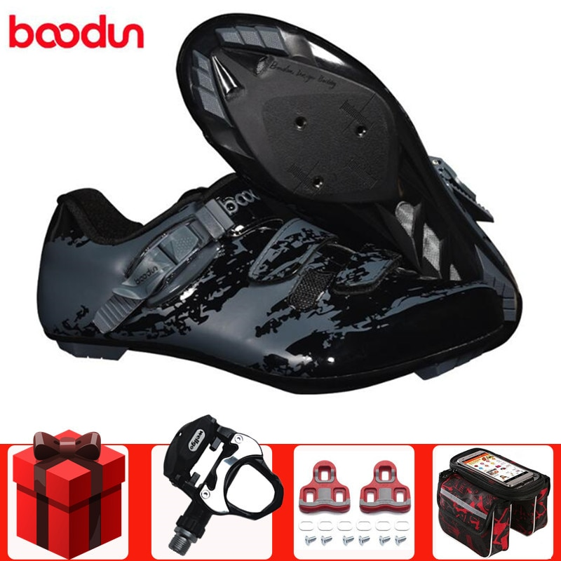 BOODUN, zapatos de ciclismo de carretera para hombre, zapatillas de deporte, conjunto de pedal de ciclismo de autosujeción, ligero, zapatos de bloqueo para carretera