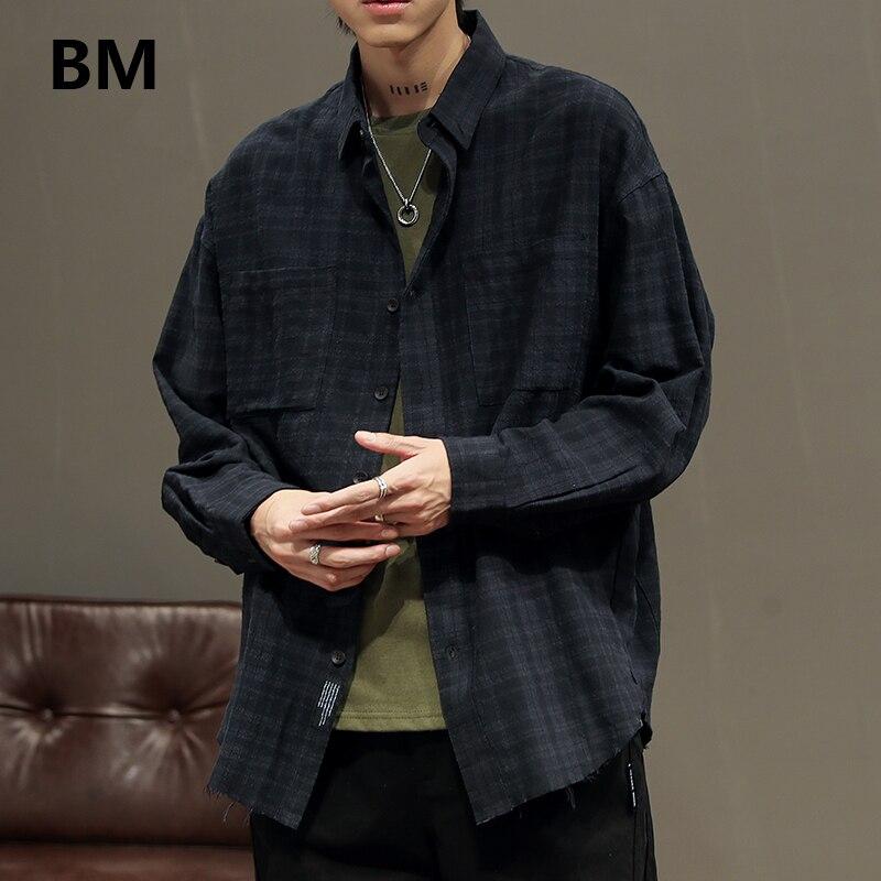 2020 moda harajuku preto camisa casual streetwear japonês preto xadrez camisa de manga longa roupas masculinas coreano masculino