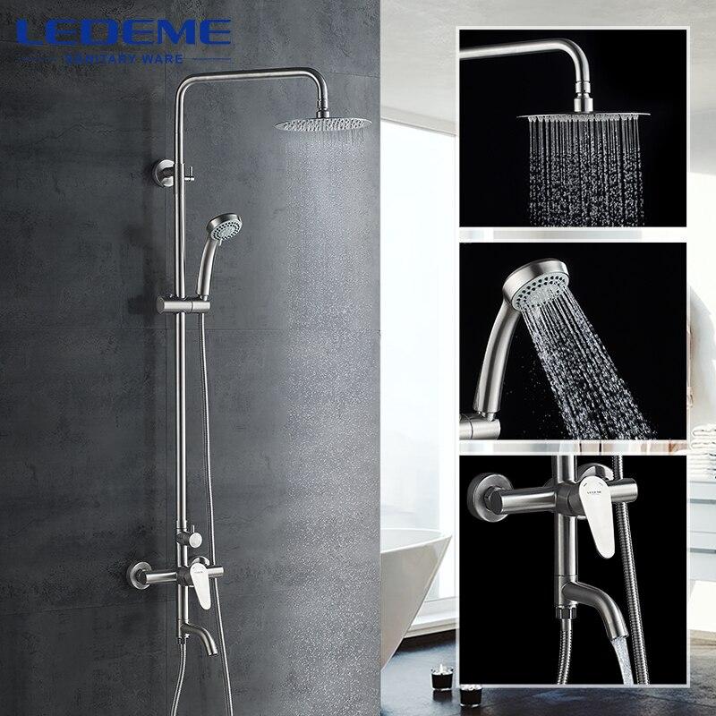 LEDEME-حنفيات دش مصقولة من الفولاذ المقاوم للصدأ ، مجموعة صنبور خلاط ، جدار دائري ، L72402