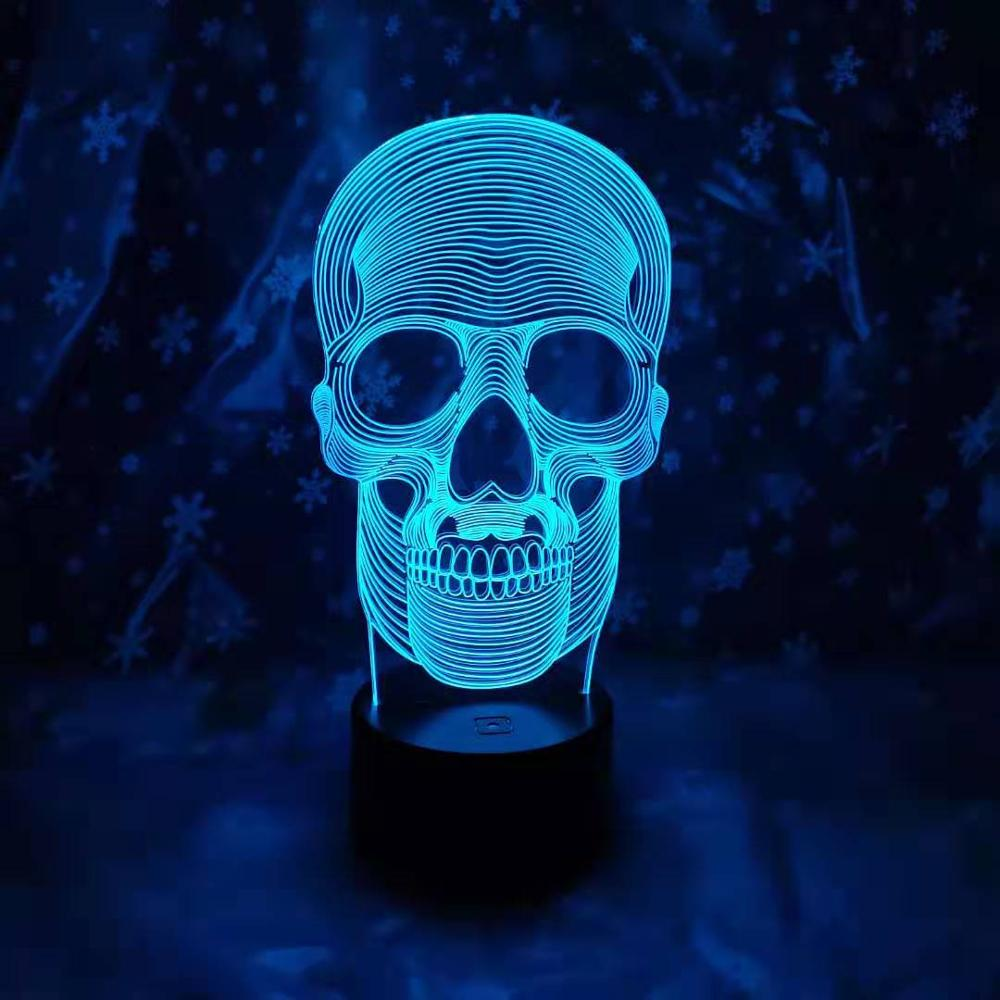 3D LED 7 colores luz de noche lámpara 3d calavera luz acrílico 3D ilusión Bluetooth altavoz escritorio lámpara de mesa para niños regalo Dropship