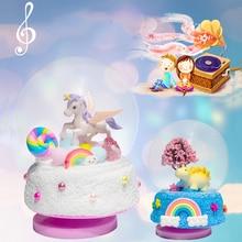 LISM Creative Diy Toys for Children Handmade Educational Cartoon Rotating Crystal Music Box Micro-sc