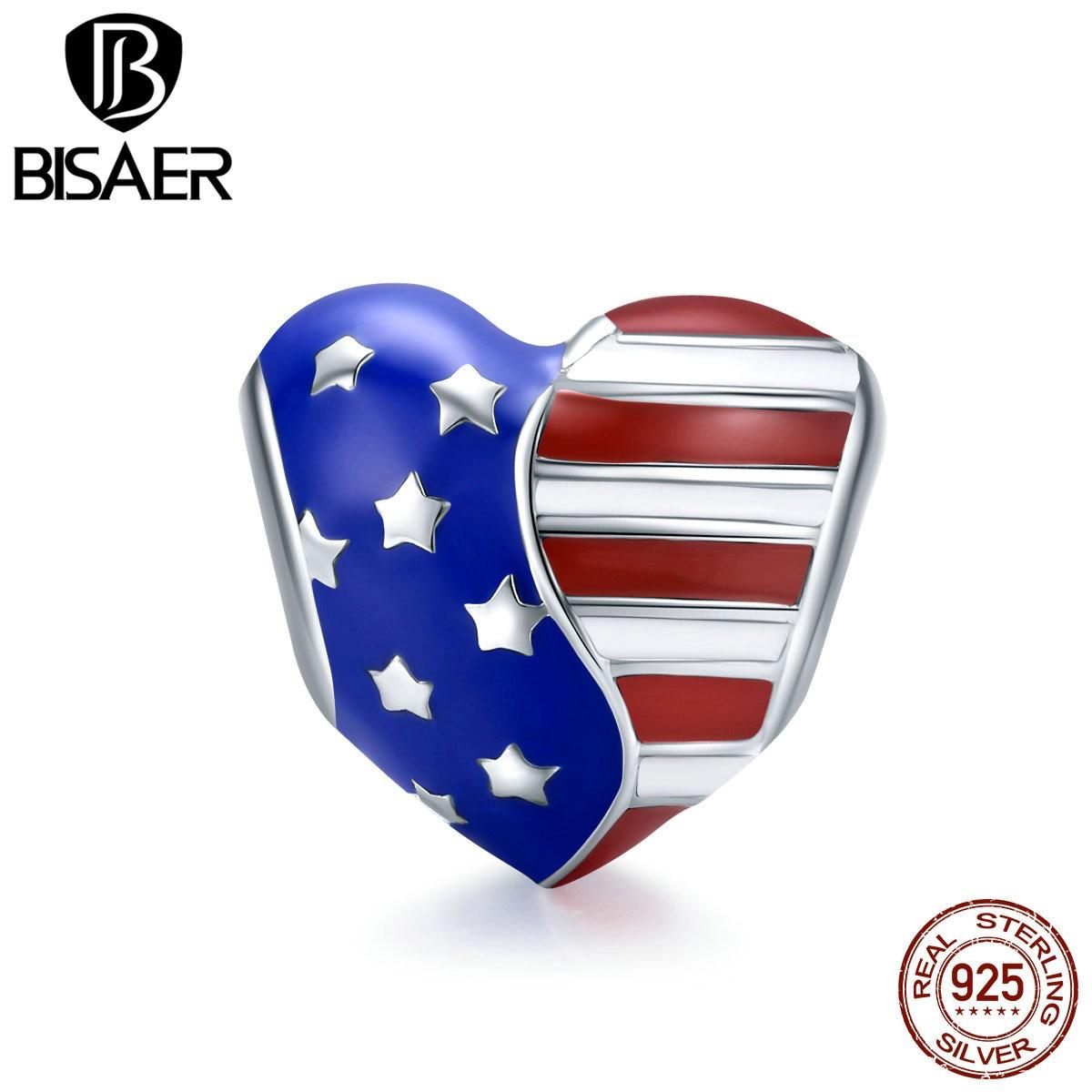 Подвески с американским флагом BISAER, подвески из серебра 925 пробы с сердечками и звездами США, браслеты-подвески для самостоятельного изгото...