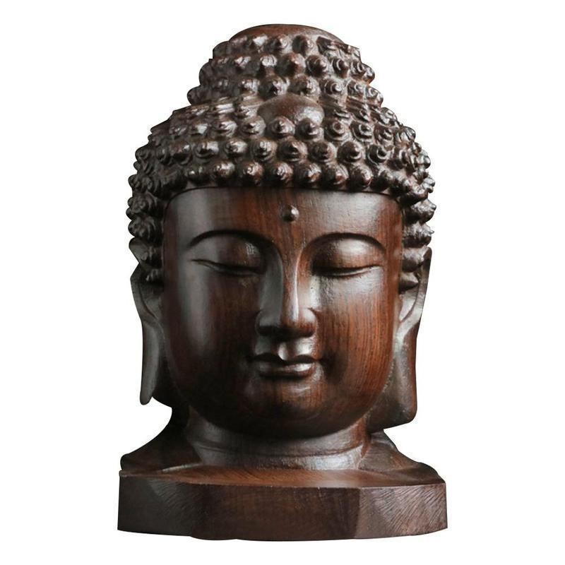 Estatua de Buda de 6cm, estatuilla de cabeza de caoba, adornos tallados de madera para el hogar, Sala budista Shakyamuni, artesanías de grabado en madera Tathaga
