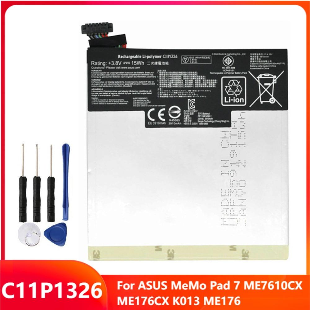 Оригинальный сменный аккумулятор C11P1326 для ASUS MeMo Pad 7 ME7610CX ME176CX K013 ME176, аккумуляторные батареи 3910 мАч