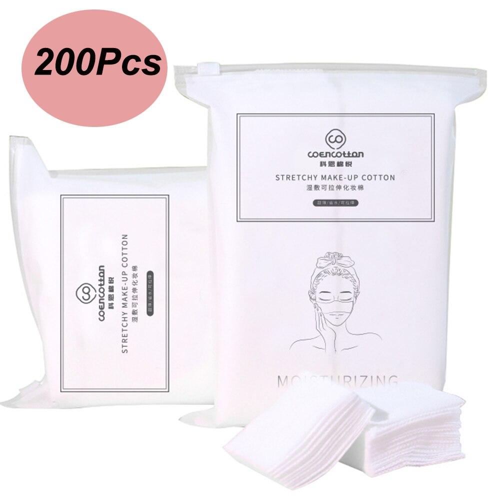 200 Uds almohadilla de algodón estirable suave removedor de maquillaje Facial sección delgada de algodón limpio toallitas húmedas Toalla de algodón especial