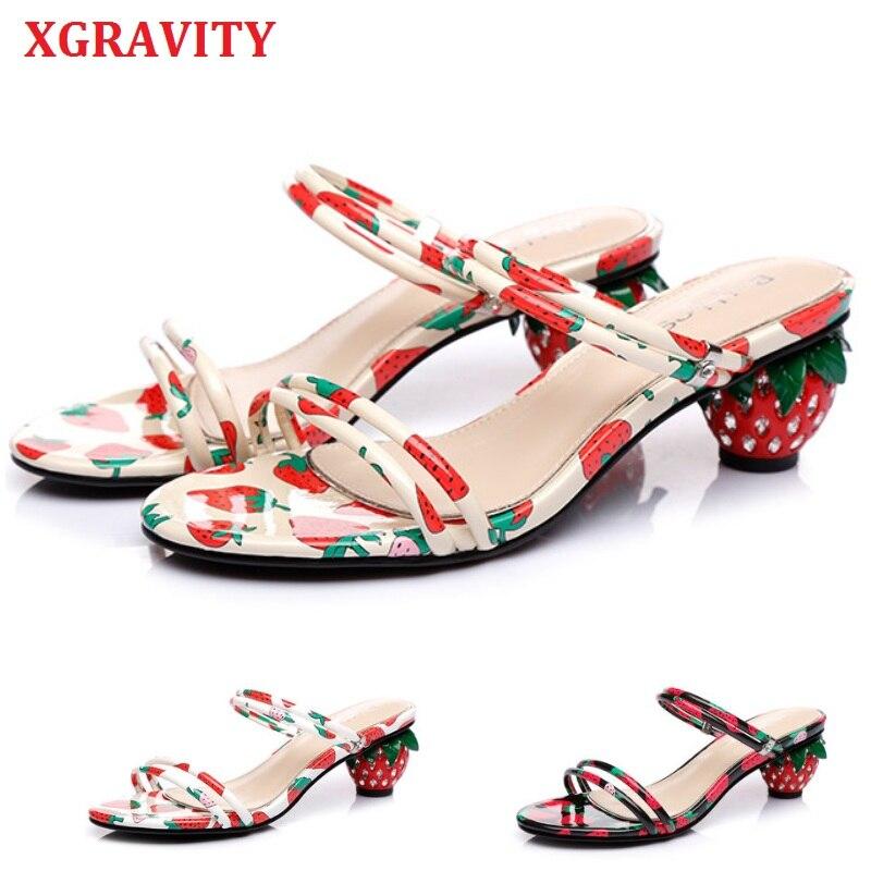 Xgravity nova primavera verão senhoras moda anormal morango sandálias de salto feminino chunky calcanhar sapatos de fadas calçados b296