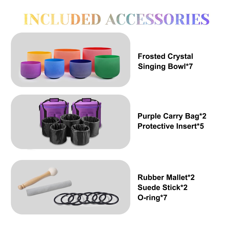 Diaezor 7-12 Inch Chakra Colored Frosted Quartz Crystal Singing Bowls 7Pcs Set Note CDEFGAB with 2PCS Free Case For Meditation enlarge