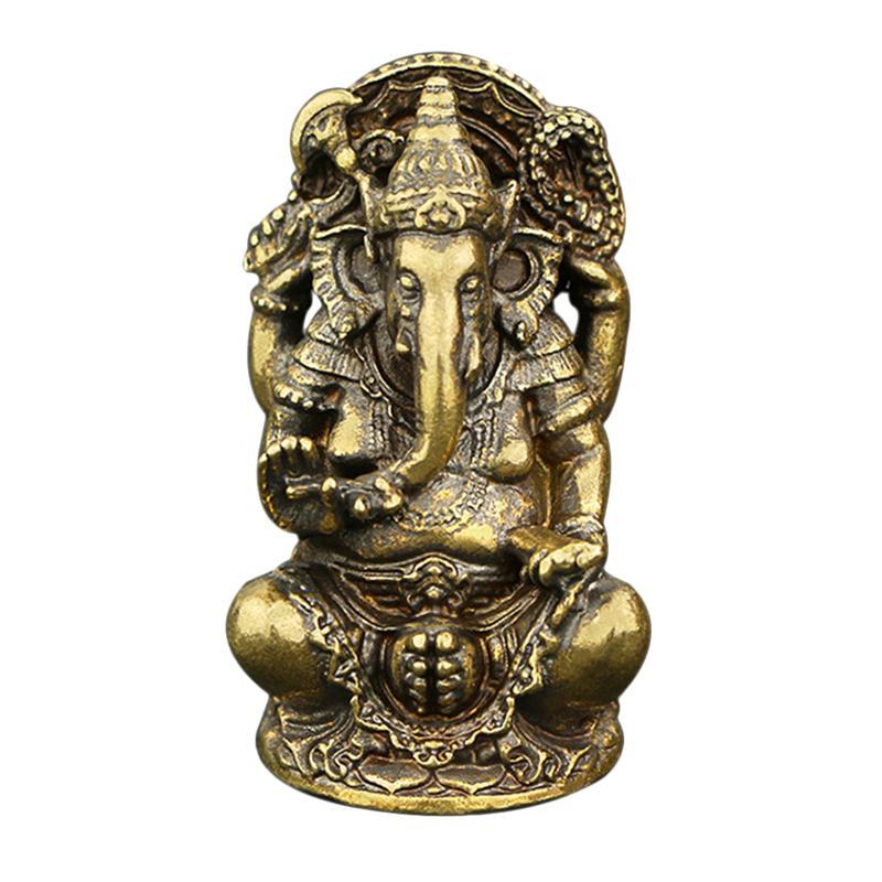ESTATUILLA clásica de cobre sólido Ganesha Buddha ornamentos hechos a mano elefante Dios Buda estatua escultura escritorio artesanías