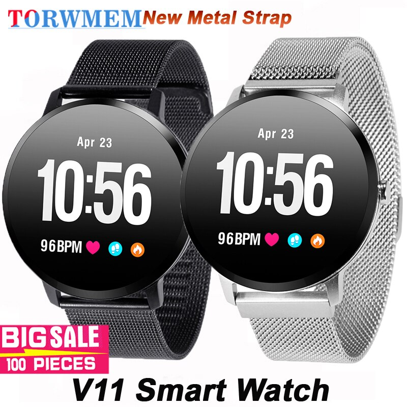 Metal Strap V11 Men women Smart Watch IP67 waterproof Tempered glass Activity Fitness tracker Heart rate Blood Pressure Watch