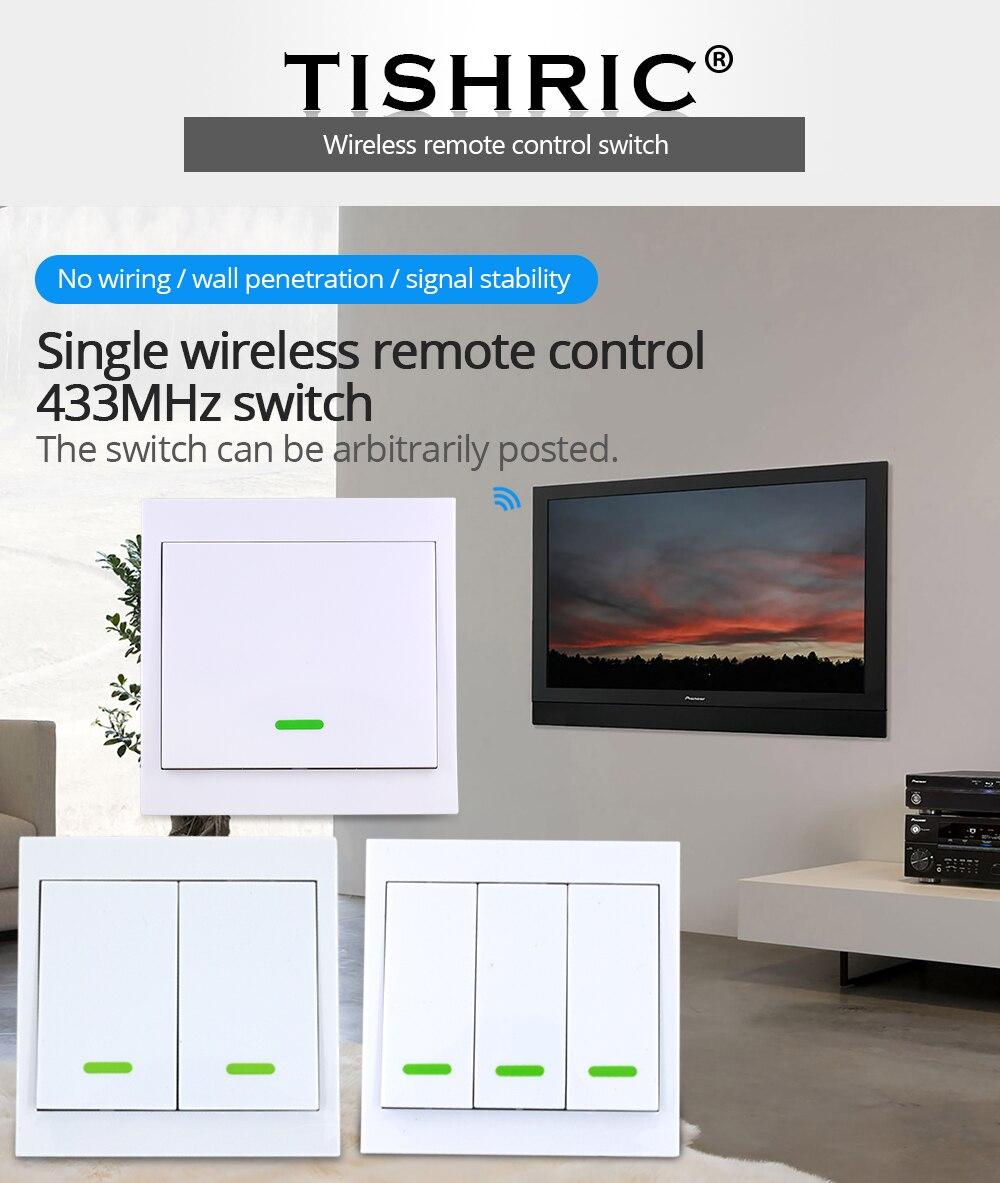 Control remoto TISHRIC RF, transmisor de 433Mhz, Panel Adhesivo de pared tipo 86, trabajo doméstico inteligente con SONOFF RF/T1/T2/T3/Bridge/TX/433