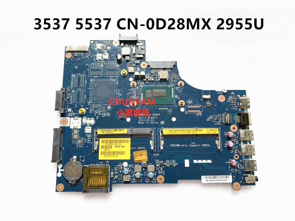 KEFU marke neue CN-0D28MX D28MX FÜR DELL INSPIRON 3537 5537 laptop motherboard VBW01 LA-9982P REV 3,0 CELERON 2955U mainboard