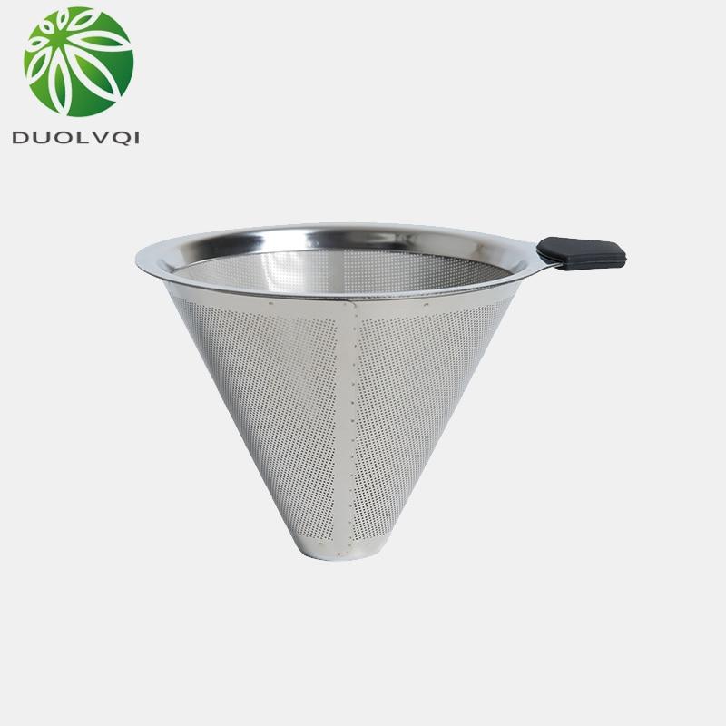 Duolvqi prático filtro de café gotejamento reutilizável aço inoxidável filtro de café durável pote de café filtro funil grade ferramentas de café