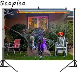 Scopiso Seamless Photography Background Horrible Zombie Halloween Theme Backdrop Photo Background Studio Prop