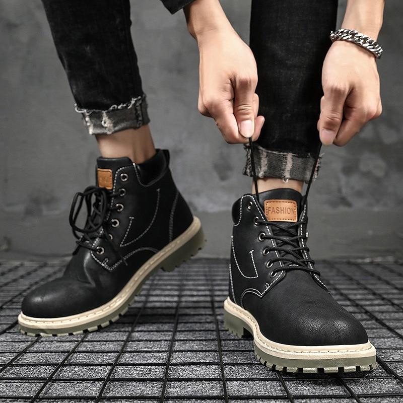 Sapatos de Plataforma Botas de Couro do Plutônio Botas de Tornozelo Casual para Homem de Couro Masculinos Primavera Outono Botas Masculinas Confortáveis Baratos Masculino &