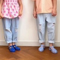 new boys and girls korean fashion trend holed loose jeans casual pants pants