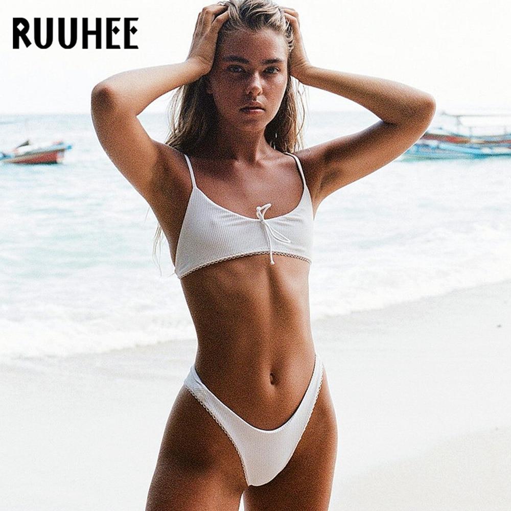 RUUHEE, Micro Bikini brasileño, traje de baño Sexy para mujer, de corte alto Bikini, conjunto de traje de baño femenino, traje de baño Push Up, Biquini de playa
