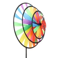 new colorful rainbow triple wheel wind spinner windmill garden yard outdoor decor kids toys
