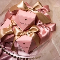 102050pcs diamond candy box thanks for wedding guests baptism souvenirs gold bowknot ribbon gift cardboard boxes wholesale