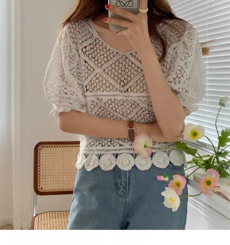 Alien Kitty Vintage ahueca hacia fuera la blusa de cuello en V 2020 nuevo verano elegante camisa de estilo coreano mujeres Puff manga suelta Crop Knit Tops