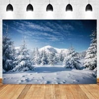 christmas tree forest winter background sky mountain photography backdrops photographic photo shoot booth photophone photozone