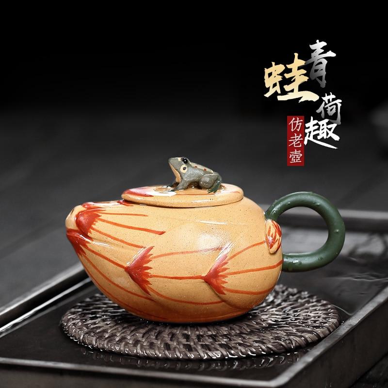 ★اثنين 】 yixing أوصى نقية دليل إبريق الشاي المنزلية غير يرتدون خام الطين الضفدع هكو وعاء من 190 cc
