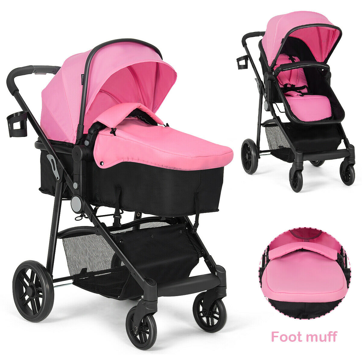 2 In1 عربة أطفال قابلة للطي الاطفال السفر الوليد الرضع عربات التي تجرها الدواب يدفع باليد الوردي