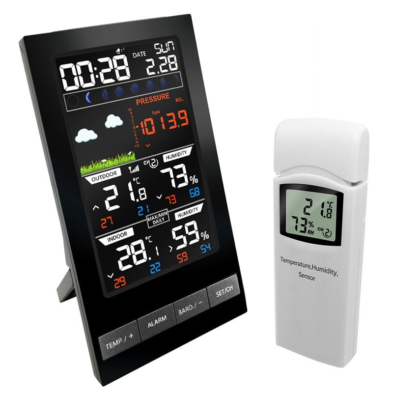 Weather Station Wireless indoor Outdoor Sensor Hygrometer Hermometer Pressure mmHg Barometer Alarm Clock Weather Forecast