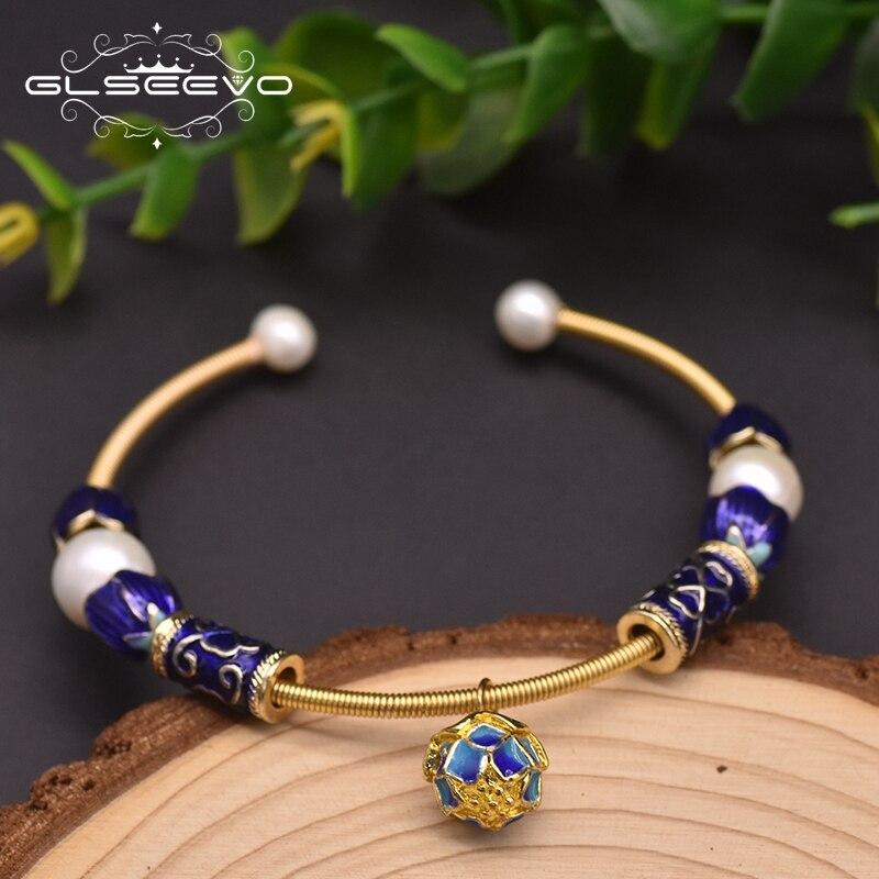 Glseevo, pulseras de temperamento Cloisonne hechas a mano para mujeres, brazaletes de perlas naturales frescas, pulsera de flores, joyería femenina GB0937