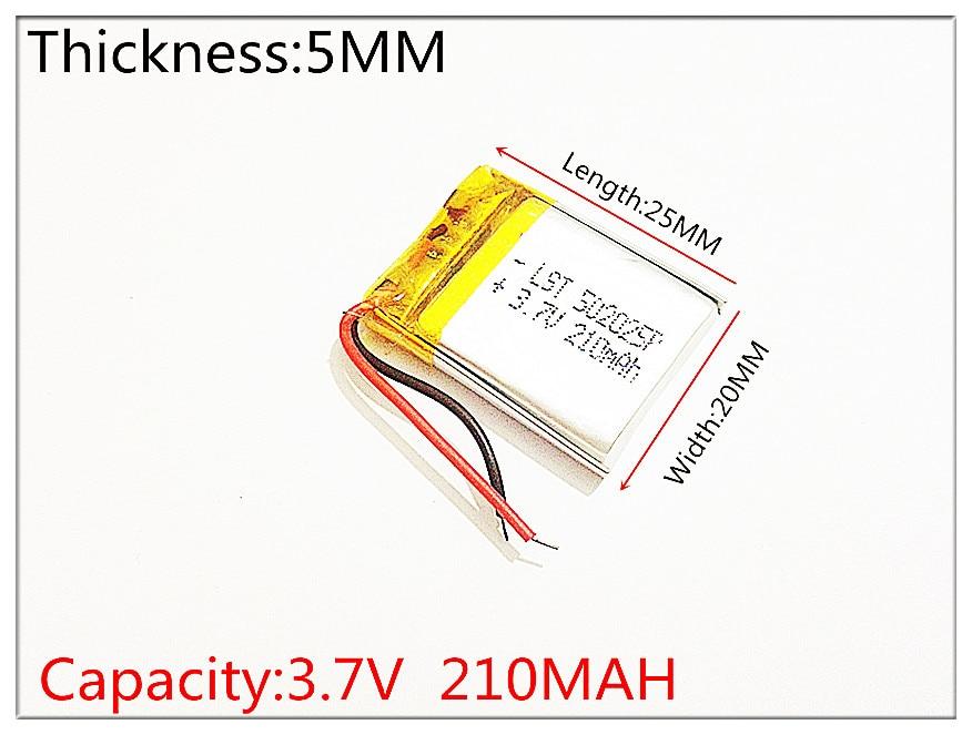 Лучший размер батареи 502025 3,7 V 210mah литий-полимерный аккумулятор с защитной платой для MP3 MP4 MP5 GPS цифровые продукты