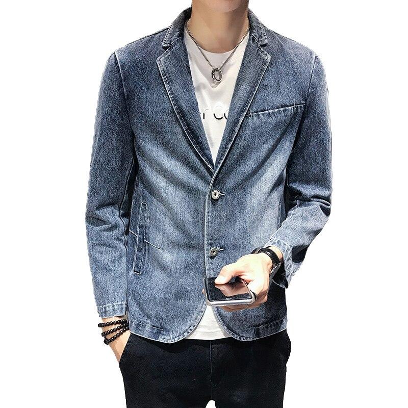 Cowboy suit jacket 2019 autumn slim single-breasted fashion casual blazer / lapel cowboy classic suit jacket male