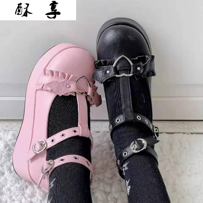 حذاء لوليتا كاواي للنساء ، كعب عالي 5.5 سنتيمتر ، نمط بومبون ، شيطان ، قوطي ، بانك ، لزي تأثيري